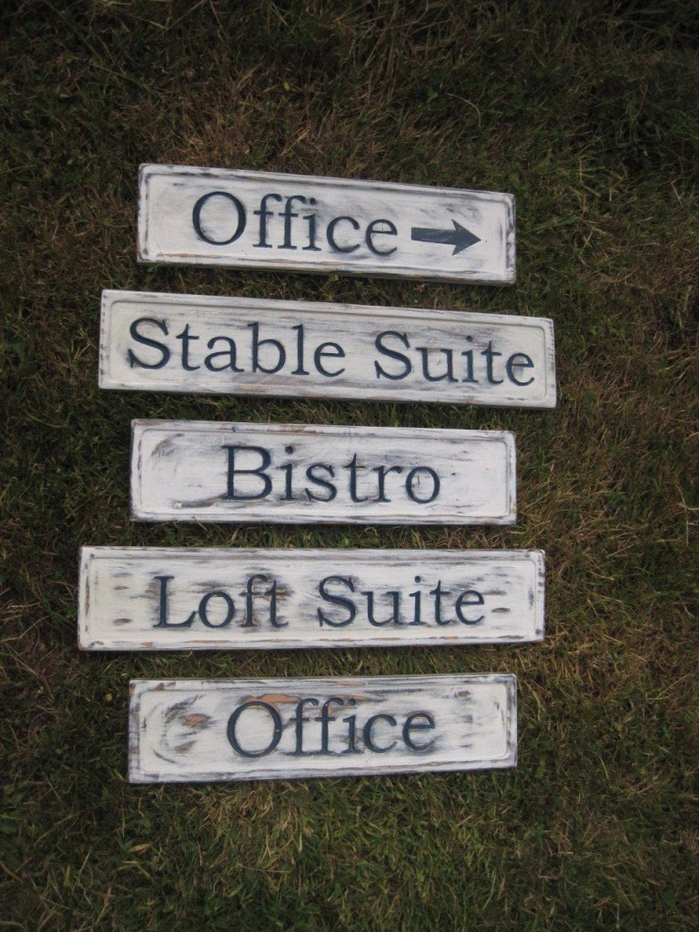 Rustic facility signs