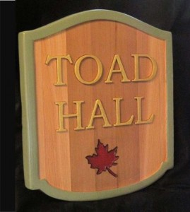 Carved Wood Toad Hall Sign (1)