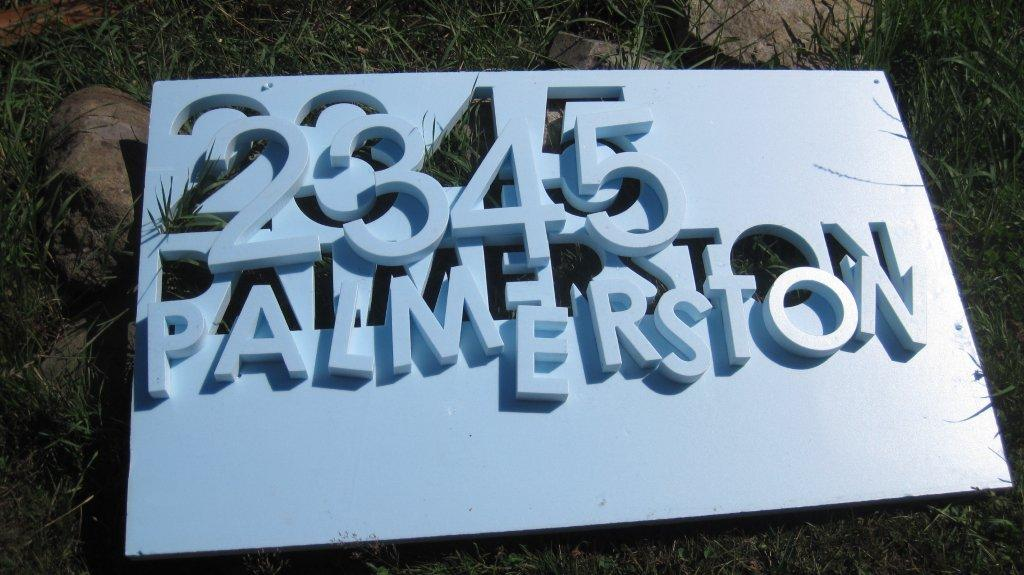Cut letters in styrofoam for concrete form for concrete letters