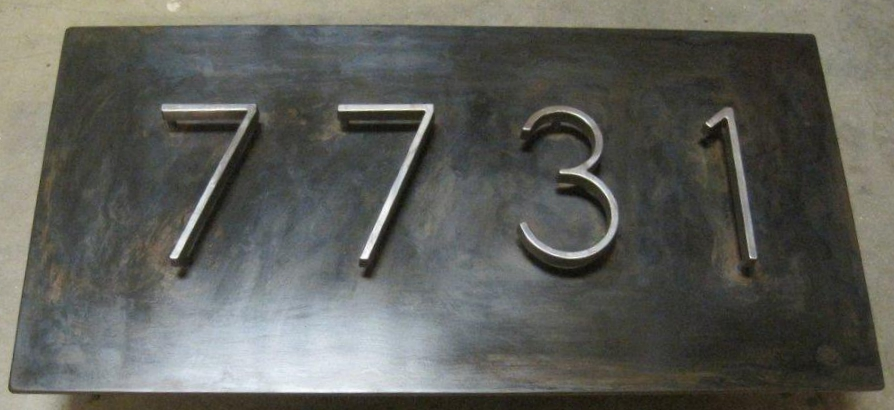 Address plaque made out of dyed mild steel and store bought letters