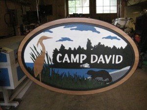 Camping retreat sign, cabin sign
